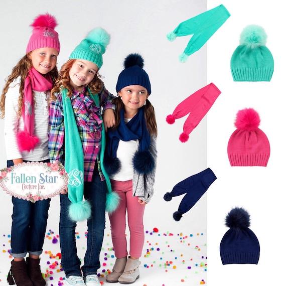 Girls  hat and scarf set, monogrammed children's hat, personalized kids scarf, girls scarf and hat, tween hat, personalized knit hat, monogr