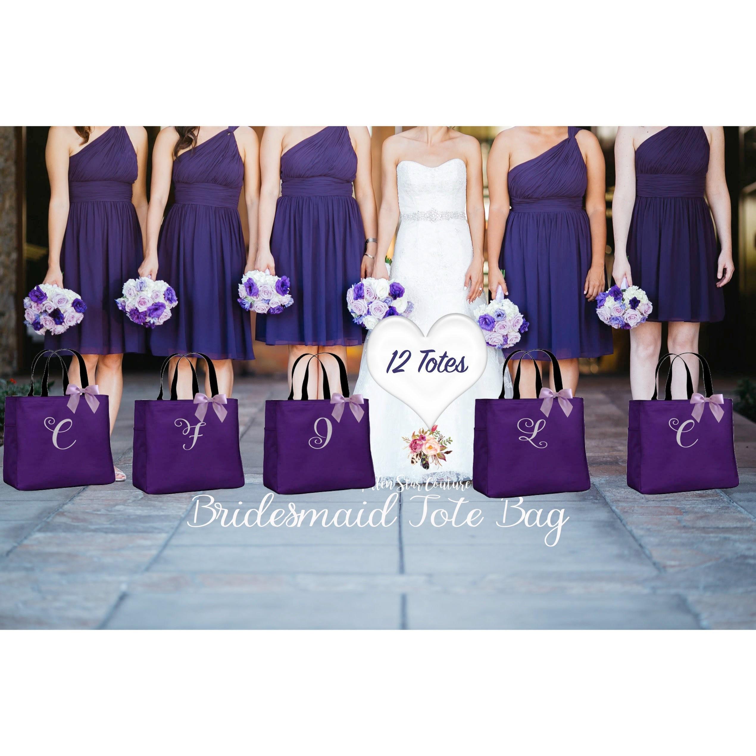 12 wedding party tote bags bridesmaid wedding gifts wedding tote