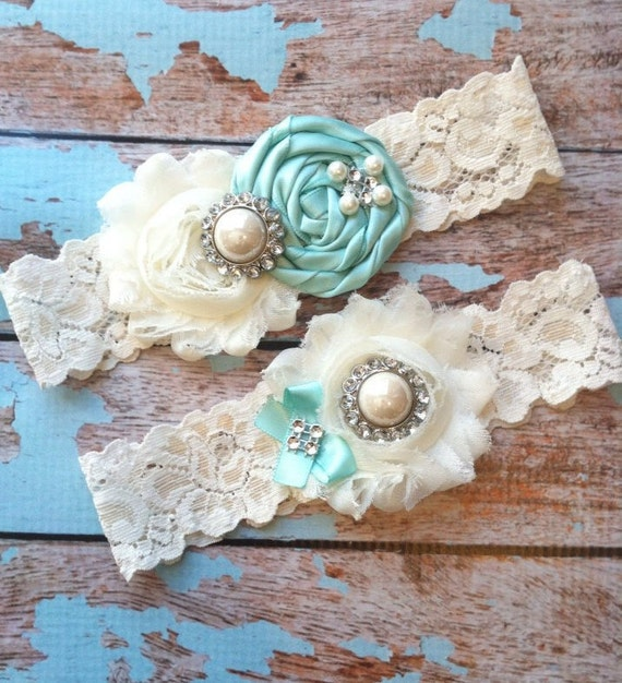 Aqua Wedding Garter Set, Wedding Garter, Bridal Garter Set, Garter Belt , Garters For Wedding, Lingerie Garter , Something Blue Garter ,