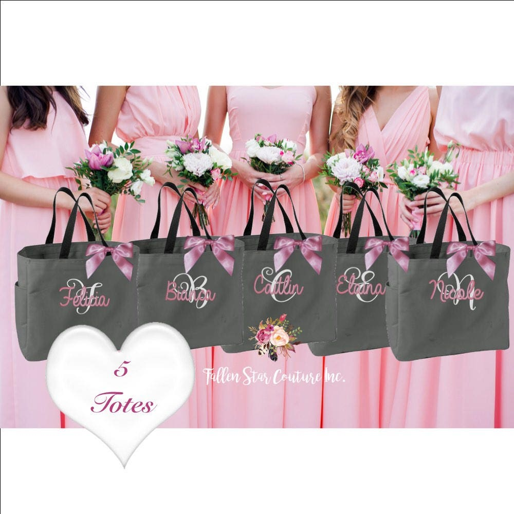 5 Bridal Party Tote Bags Monogrammed Bridesmaid Gift Wedding Thank