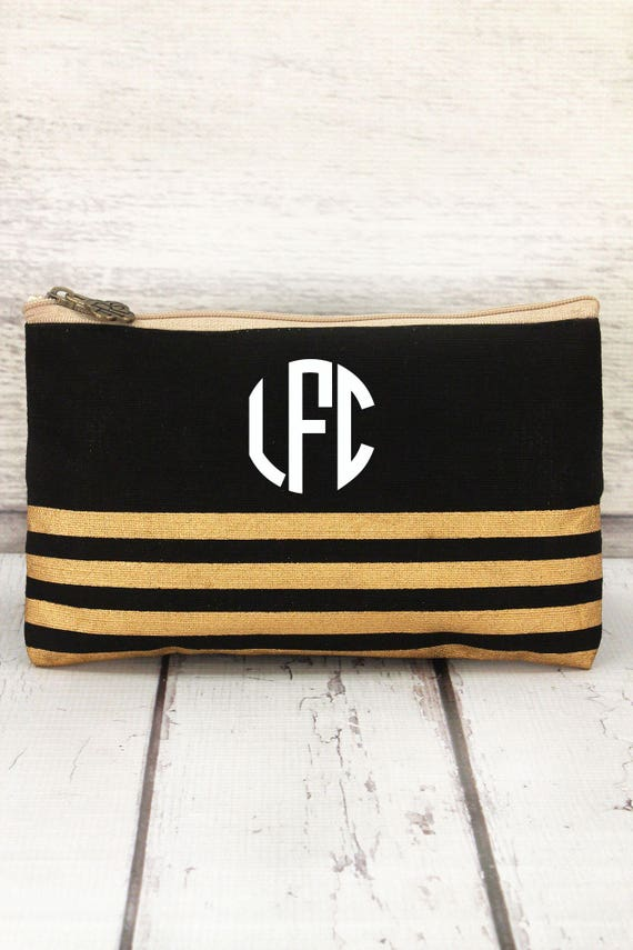 Black and gold striped jute cosmetic bag, personalized makeup bag, monogrammed cosmetic bag, bridesmaid bag,