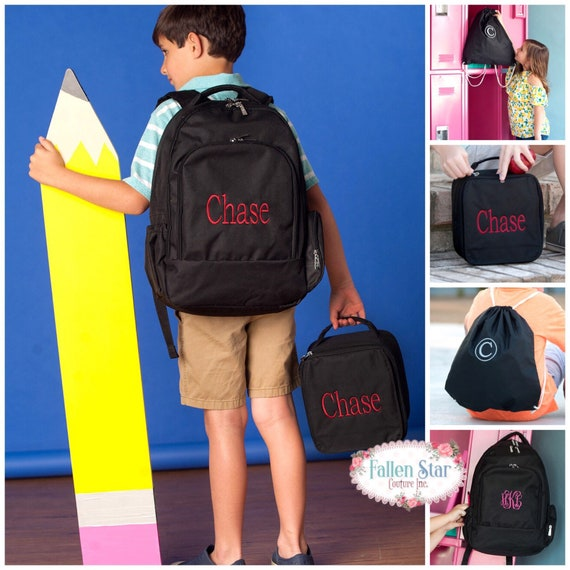 Boys Black Personalized Backpack, Back To School, Boys  Lunchbox, Monogrammed Backpack & Lunchbox, Personalized Backpack Lunchbox