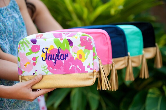 Personalized LARGE Makeup Bag, Cabana Cosmetic Case , Monogrammed Makeup Bag, Cosmetic Train Case , Large Makeup Bag