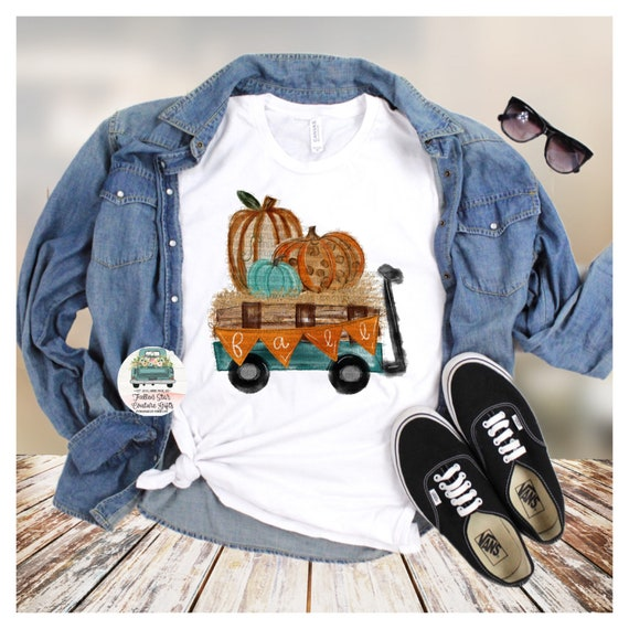 Fall Leopard Print Pumpkin Wagon Fall Autumn Bella Unisex V Neck T-Shirt