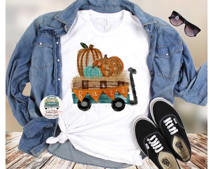 Fall Leopard Print Pumpkin Wagon Fall Autumn Bella Unisex V Neck T-Shirt