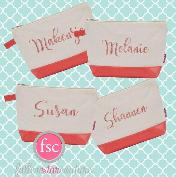 Coral bridesmaid bags , bridesmaid make-up bags, monogrammed bag, wedding bag , bridesmaid gifts , personalized bridesmaid gifts