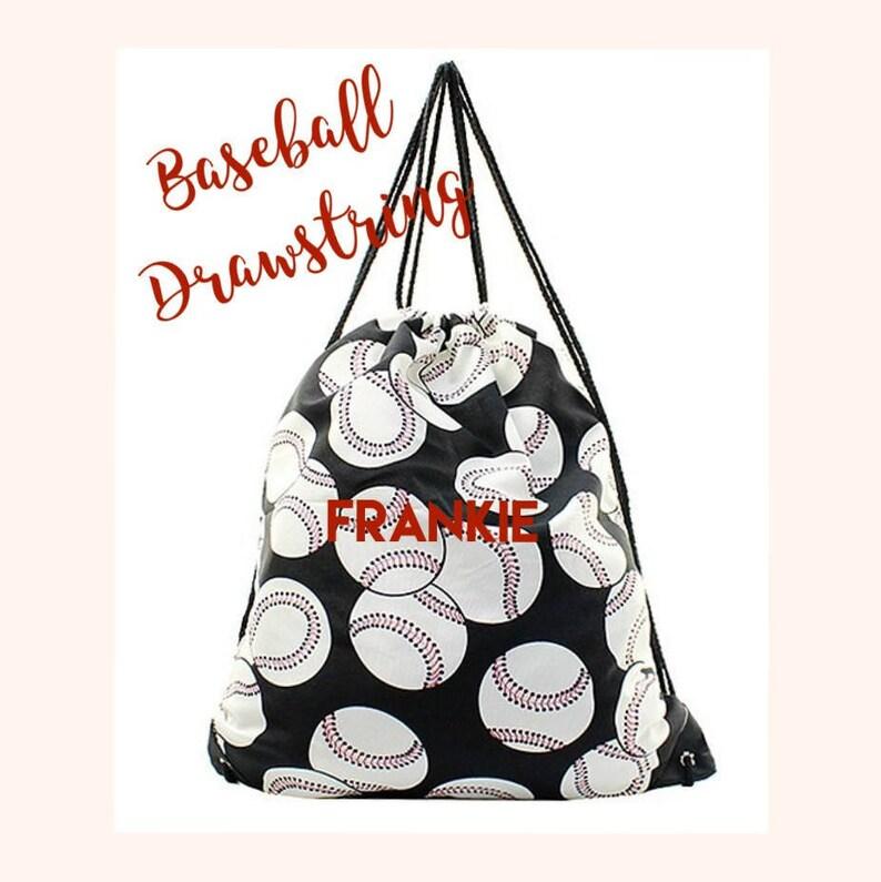 baseball cinch bag baseball moms tote bag monogrammed baseball tote Personalized Baseball Drawstring Bag womans baseball tote