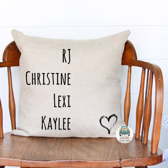 Family Names Pillow Cover, Personalized Pillow, Custom Grandkids Pillow , Grandkid pillow , grandma gift , kids names pillow