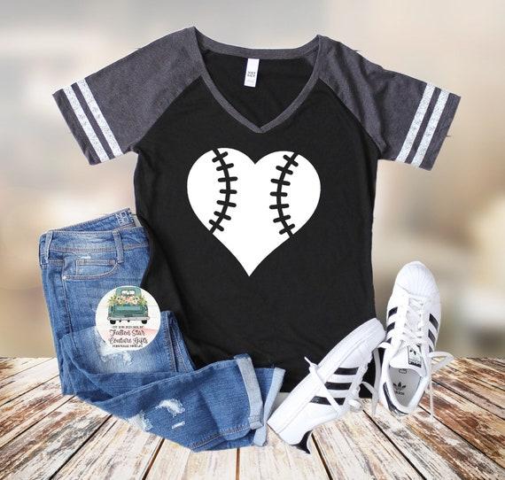Baseball Mom Heart , Baseball Mom Shirts, Baseball Tee, Mom Shirt, Baseball Mom V Neck, Cooperstown, Little League , Travel Baseball