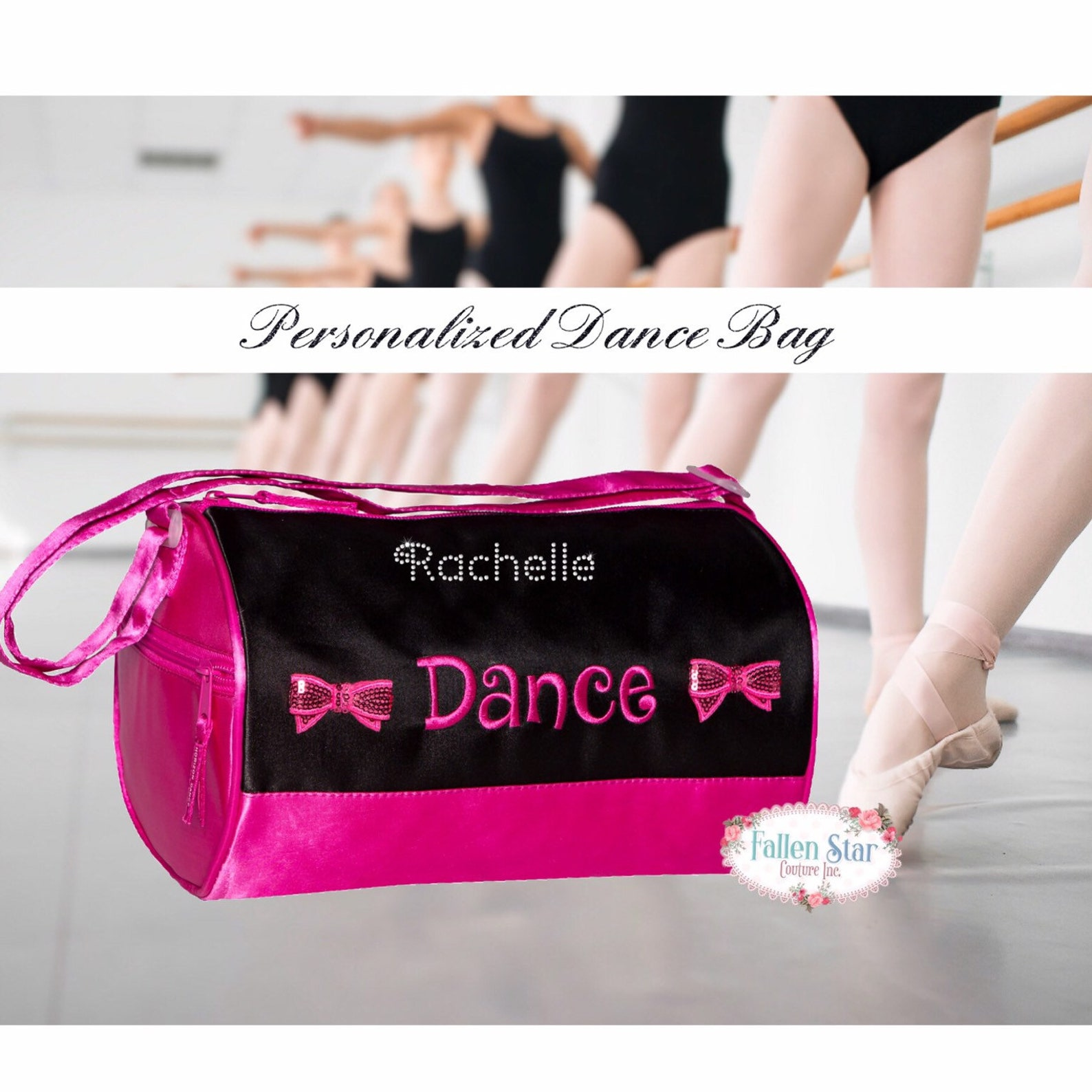 small personalized ballet bag , dance class bag, ballet slipper duffel bag, duffel bag for girls dance, personalized dance class