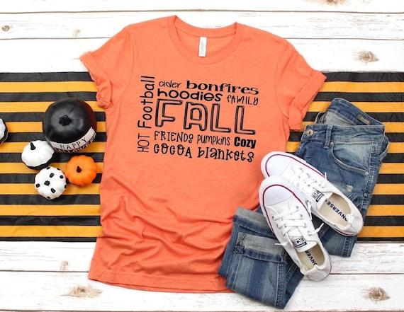 Cute Fall Tee, Fall Mom Shirt, Autumn Ladies Tee , Pumpkins Bonfires Football , Ladies Fall Tee Shirtb
