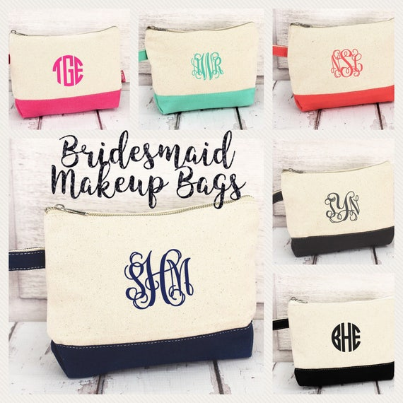 Cosmetic Bag, Monogram Cosmetic Bag, Makeup Bag, Teen Gifts, Bridesmaid Gifts, Girls Makeup Bag