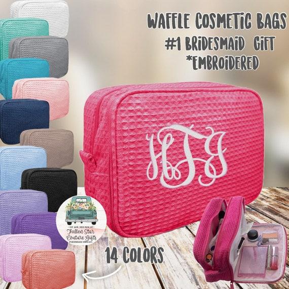 6 bridesmaid makeup bags , bridesmaid accesory bags, waffle makeup bag, bridesmaid gifts , personalized bridesmaid gifts