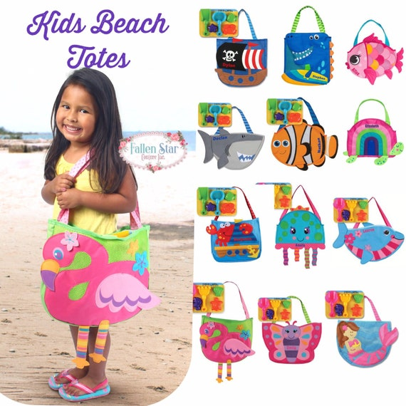 Kids beach bag, personalized kids beach tote, toddler beach bag, boys beach bag, girls beach bag, kids swimming bag, Stephen Joseph