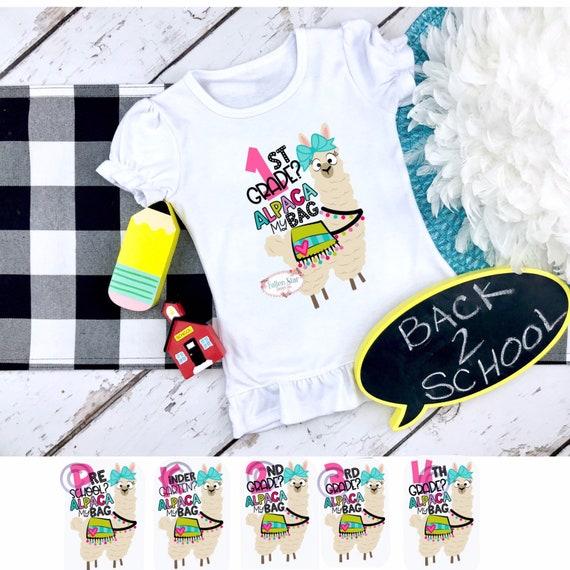 Alpaca girls T-shirt, back to school T-shirt , first grade, second grade, third grade, fourth grade, kindergarten, preschool, pre-K