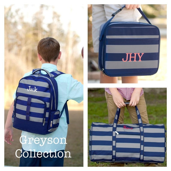 BOYS personalized backpack , Back To School , kids back pack , lunchbox , duffle , monogrammed backpack , greyson