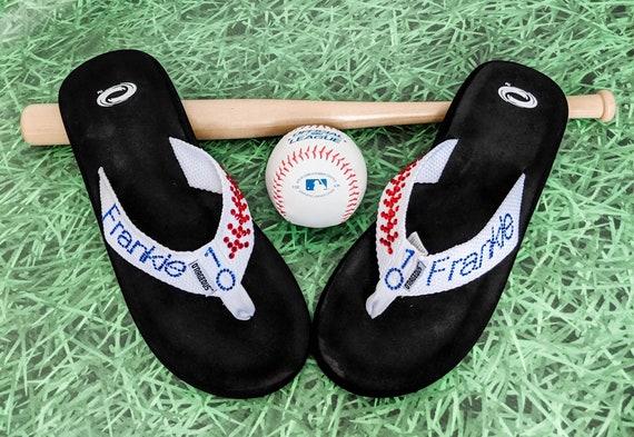 Baseball mom flip-flops, Bling flip-flops, sports mom flip-flops, baseball mom flip flops, baseball flip flops, soccer sandels, custom flip