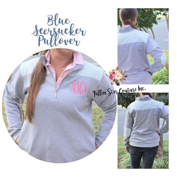 Seersucker Monogrammed sweatshirt , personalized sweatshirt , embroidered ladies sweatshirt, womans sweatshirt , Quarter Zip Sweatshirt