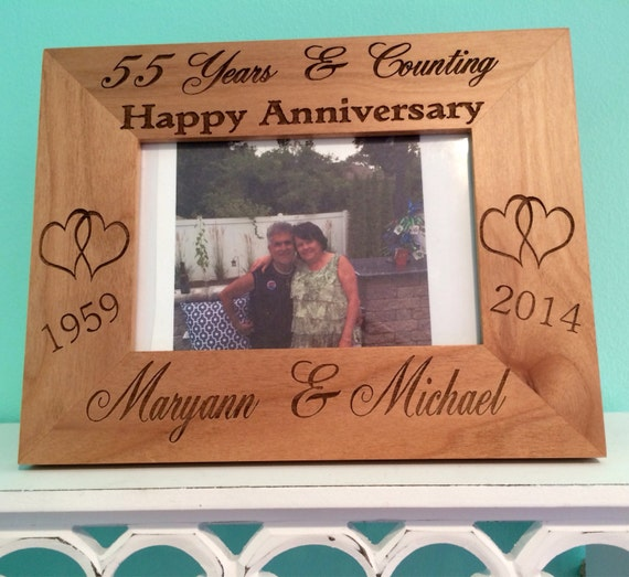 Personalized wood frame , anniversary frame , anniversary gift, alder wood frame