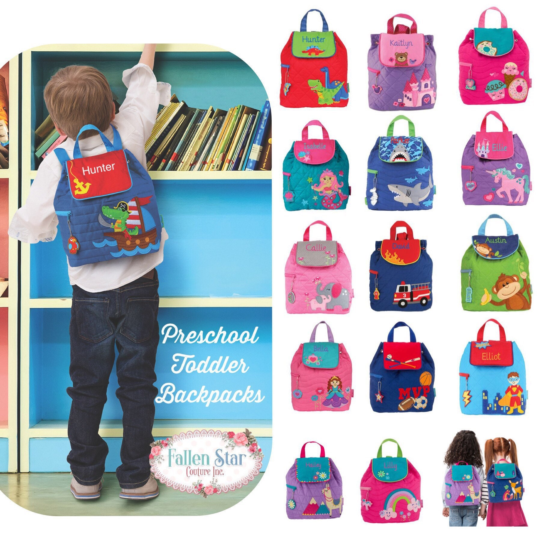 984cb6eab03 Preschool backpack toddler backpack Stephen Joseph Quilted