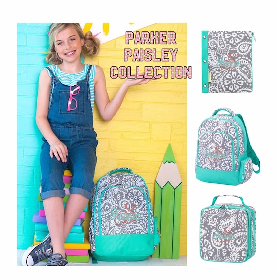 Girls Personalized backpack and lunch box, girls backpack, girls lunchbox, full-size backpack, tween backpack, Parker paisley backpack