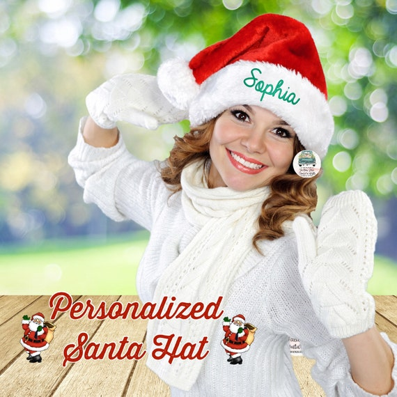 Adult Personalized Santa Hat, Monogrammed Santa Hat,  Embroidered Santa Hat , Christmas  Hat , Santa Hat, Christmas Santa Hat