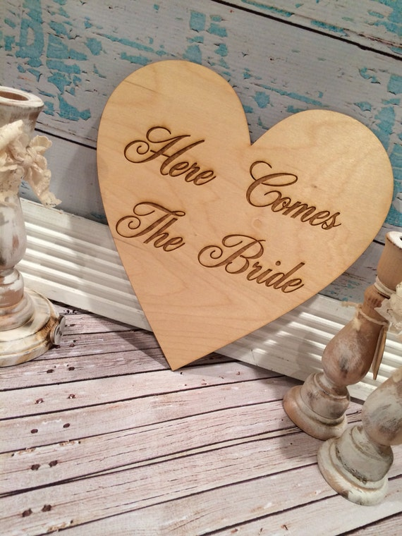 Here comes the bride sign , ring bearer sign , wedding sign , rustic wedding , barn wedding
