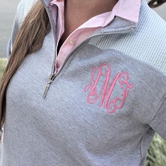 Quarter Zip, Ladies Sweatshirt, Seersucker Sweatshirt, Monogrammed Sweatshirt, Gifts under 30 , Womans Quarter Zip , Pullover Sweatshirt