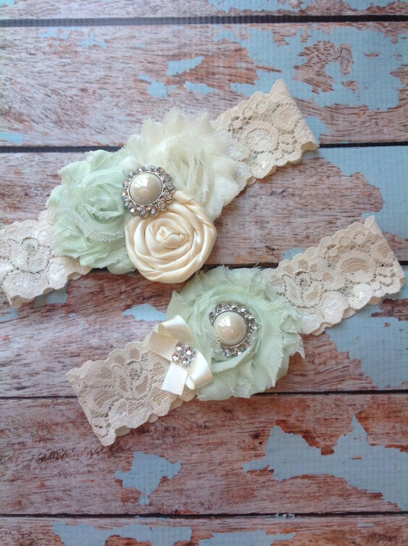71be20fb9 Mint Wedding Garter Set Bridal Garter Ivory Lace Garter Something ...