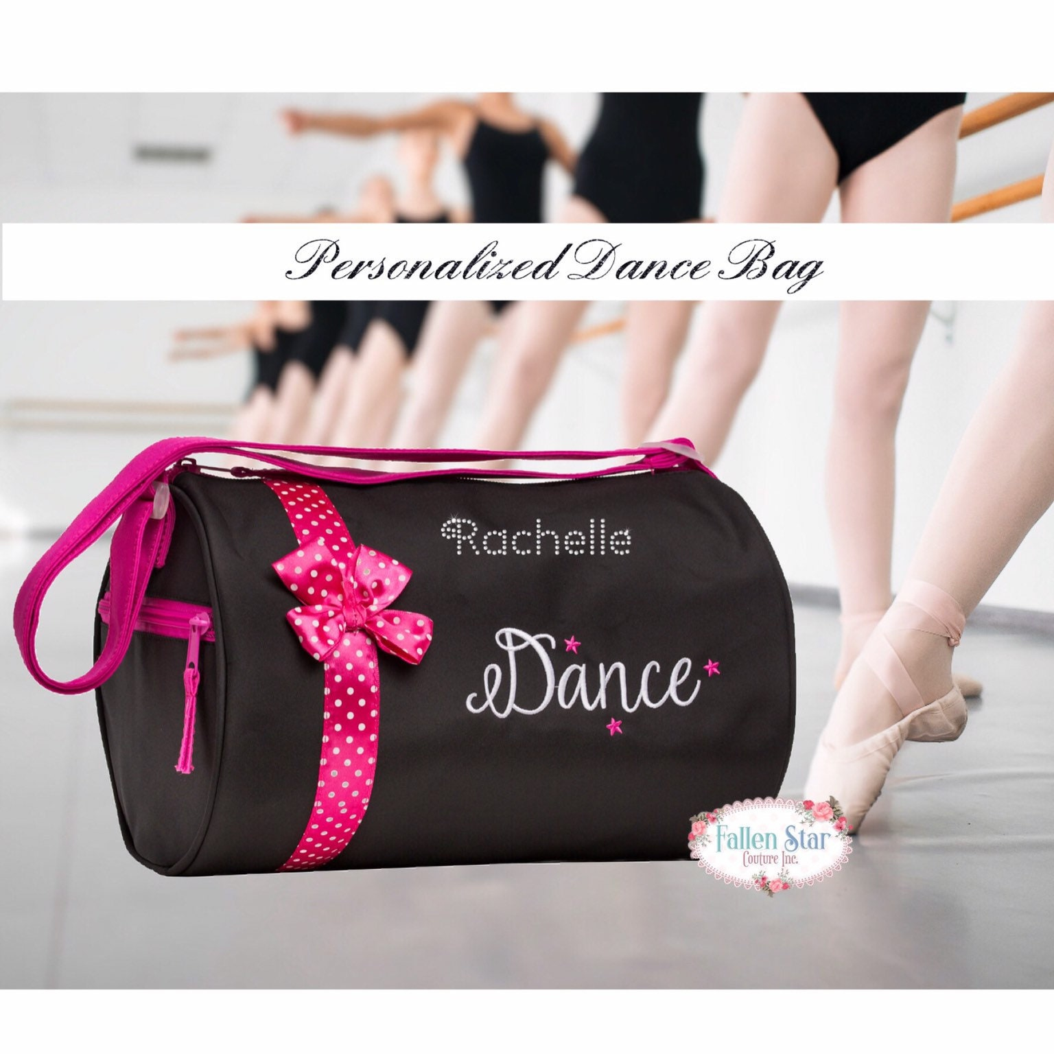 Black Girl/'s Quilted Totes Dance Ballet Slippers Bag With Pink Polka Dot Bow