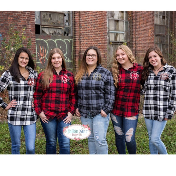 Monogrammed Plaid Tunic, Ladies Flannel, Woman's Flannel, Monogrammed Plaid Shirt, Gifts for Her,  Tunic , Woman's Christmas Shirts