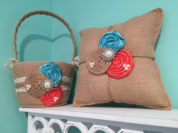 Burlap flower girl basket / ring bearer pillow - burlap pillow , burlap basket ( turquoise & coral  )