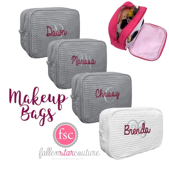 Personalized Cosmetic Bag, Monogrammed Makeup Bag, Waffle Cosmetic Bag, Bridesmaid Gifts , Gifts For Bridesmaids , Make Up Bags