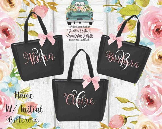 Bridesmaid Tote Set of 6, 7, 8, 9 YOU CHOOSE QTY Bridesmaid Tote Bag Set of 6, 7, 8, 9 Maid of Honor Tote Personalized