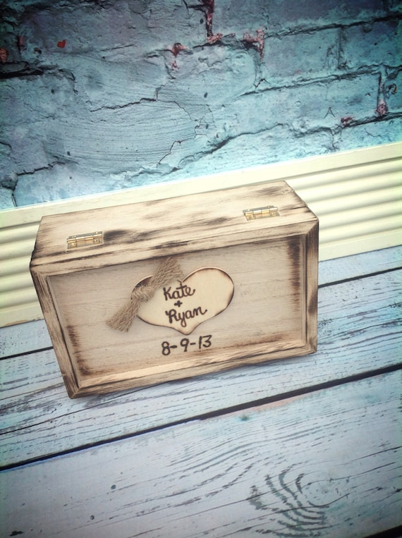 Rustic Wedding Ring Box Keepsake or Ring Bearer Box/ personalized / Ring Box / Barnyard Wedding / wood burned keepsake box