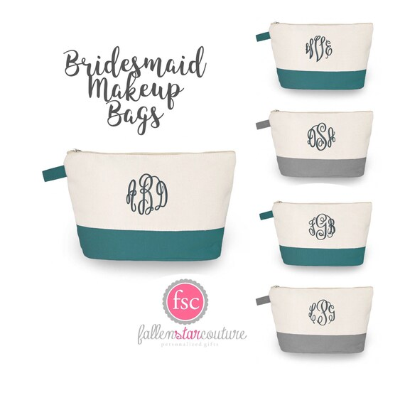 Bridesmaid Gifts , Monogrammed Cosmetic Bag , Bridesmaid Makeup Bags  , Personalized Makeup Bags , Survival Makeup Bag