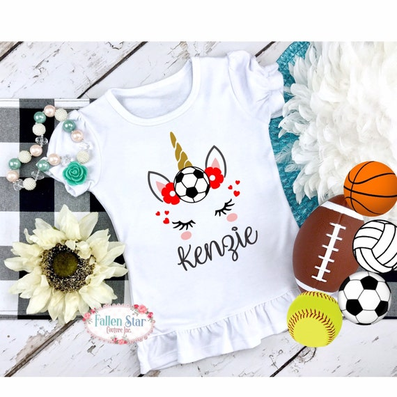 Girls Soccer Shirt, Personalized Soccer Shirt, Girls Soccer T Shirt, Little Sister Soccer Shirt, Unicorn Soccer Shirt