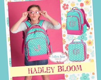 Girls Personalized Backpack, Back To School, Girls Lunchbox, Monogrammed Backpack & Lunchbox, Personalized Backpack  Lunchbox HADLEY BLOOM