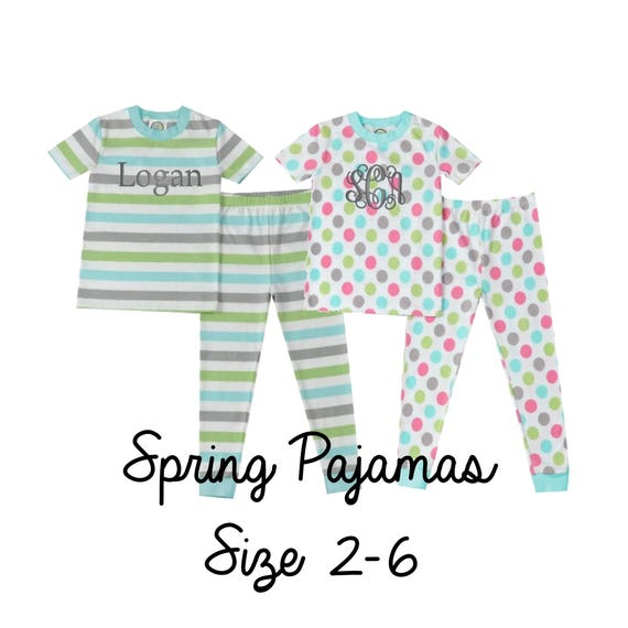 Kids personalized spring pajamas, kids Easter pajamas, kids pastel pajamas, personalized kids pajamas