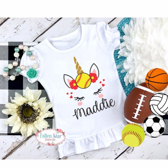 Girls Softball Shirt, Personalized Softball Shirt, Softball Girls Birthday shirt, Unicorn softball shirts personalized, Girls softball Tee