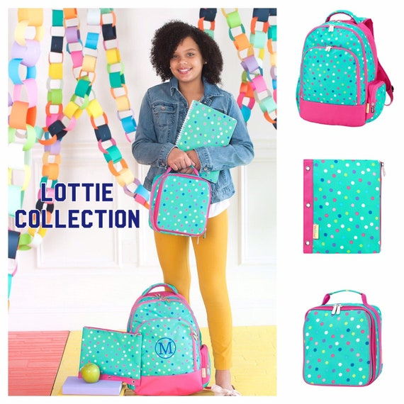 Girls backpack, girls lunchboxes, girls backpack and lunch box, back to school, full-size backpack, kindergarten backpack, LOTTIE
