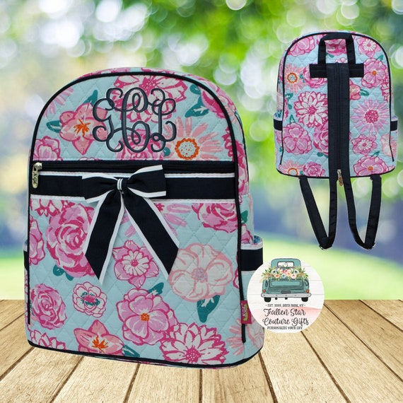 Clearance- Floral Backpack, Quilted Backpack , Monogrammed Backpack, Teen Backpack, Ladies Backpack