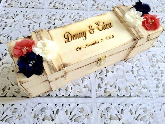 Wedding Wine box , custom wine box / You PICK COLoRs /  love letter wine box , rustic wood burned wine box