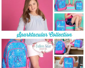 Girls Personalized Backpack, Back To School, Girls Lunchbox, Monogrammed Backpack & Lunchbox, Personalized Backpack  Lunchbox SPARKTACULAR