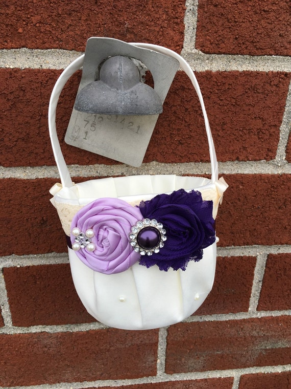 Flower girl basket / rustic wedding basket / flower girl / weddings/ wedding basket/ plum and orchid
