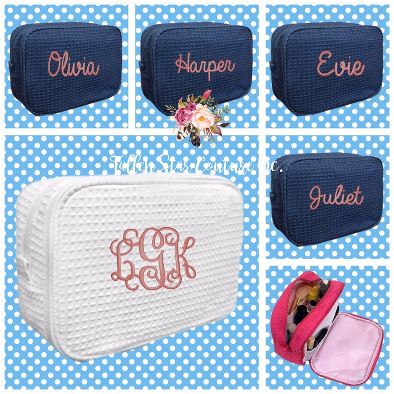 7 bridesmaid makeup bags  waffle makeup bag monogrammed bag image 0