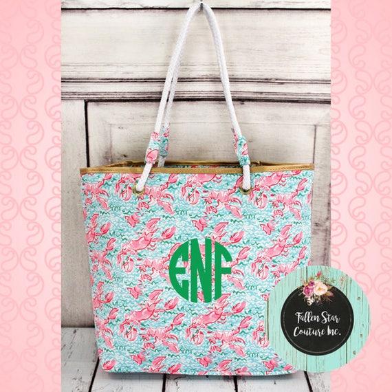 CLEARANCE beach bag Seaside Lobsters Tote Bag , bridesmaid tote bag , bridal party totes, beach bag , monogrammed beach bag