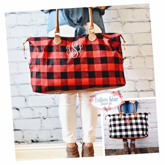 Buffalo Plaid Duffle Bag , Buffalo Plaid Weekender Bag, Buffalo Plaid Weekend Bag, Overnight Bag, Christmas Gift, Wedding Gift