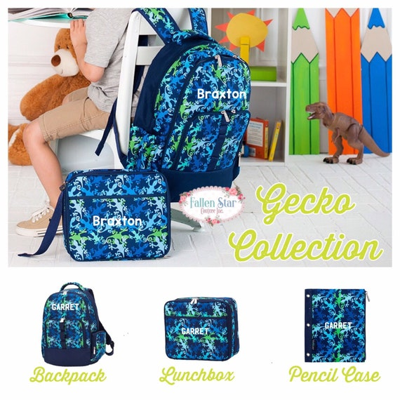 Boys Personalized Backpack, Back To School, Boys Lunchbox, Monogrammed Backpack & Lunchbox, Personalized Backpack  Lunchbox Gecko