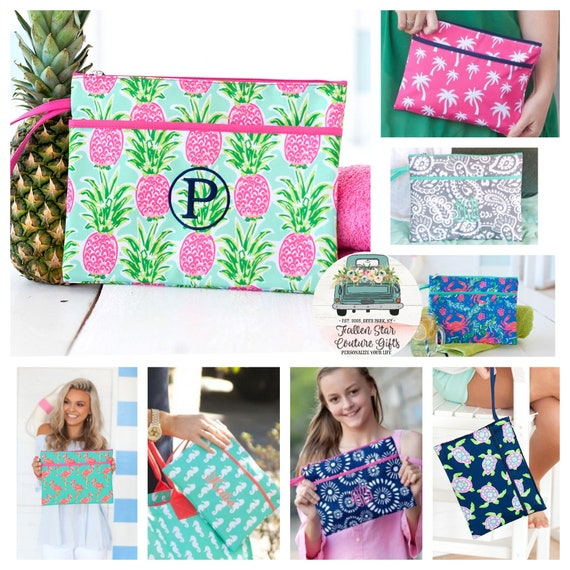 Bikini Wet Bag , Personalized Wristlet , Summer Beach Wristlet , Zip Pouch, Summer Wallet, Beach Clutch , Monogrammed Wristlet